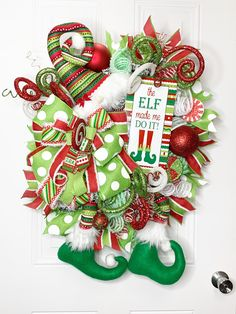 Whimsical Elf Christmas Wreath - Holiday wreaths christmas,Holiday crafts for kids to make,Holiday cookies christmas, Gingerbread Christmas Decor, Grinch Christmas Decorations, Christmas Mesh Wreaths, Whimsical Christmas, Christmas Bows, Christmas Crafts, Door Wreaths, Advent, Holiday Crafts For Kids