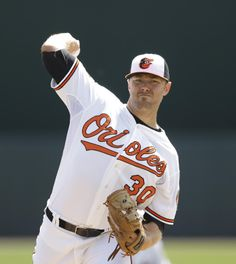 Baltimore Orioles starting pitcher Chris Tillman throws a warm up pitch in the first inning of a spring exhibition baseball game against the New York Yankees in Sarasota, Fla., Saturday, March 15, 2014. (AP Photo/Carlos Osorio)