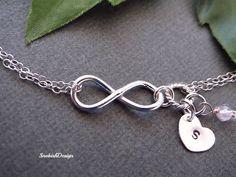 Personalized Infinity Bracelet, Initial Heart Charm, Custom Birthstone, Friendship Bracelet, Dainty Chain Bracelet, Sisters Jewelry,