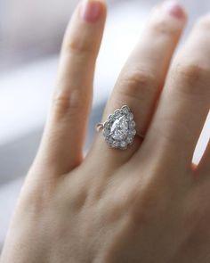 Diamond Wedding Rings Vintage Pear Diamond Engagement Ring with Halo Pear Diamond Engagement Ring, Antique Engagement Rings, Diamond Wedding Rings, Bridal Rings, Halo Engagement, Diamond Rings, Pear Ring, Custom Wedding Rings, Wedding Rings Vintage