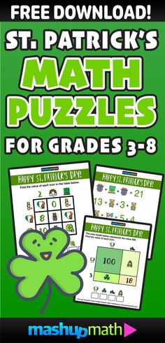 Are Your Kids Ready for 5 Free St Patrick's Day Math Activities for Grades 3-8? 3rd grade, 4th grade, 5th grade, 6th grade, 7th grade, 8th grade, printable, worksheets, homeschool, st patricks day