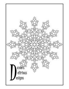 The Snowflake Design 3 Medallion Snowflake Coloring Pages, Snowflake Designs, Snowflakes, Symbols, Etsy, Art, Stars, Art Background, Icons
