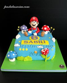 SUPER MARIO CAKE by CAKE BY NESRİN TONG, via Flickr Bolo Super Mario, Super Mario Party, Mario Birthday Cake, Birthday Cakes, Fondant Cakes, Cupcake Cakes, Video Game Cakes, Video Games, Luigi Cake