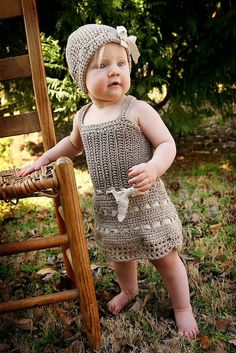Natural Baby Dress - Cotton Bamboo and Raw Linen - Hand Knit Crochet- Photo Prop -