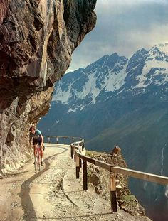 classicvintagecycling:The old road over the Gavia Pass.