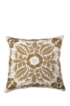 Embroidered Throw Pillow - Beige