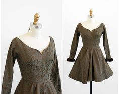 vintage 1940s dress / 40s dress / Green and Brown Ice Skating Dress with Mink Fur Cuffs. $92.00, via Etsy.