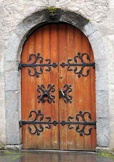 Door at 18th Century Church in Bergen, Norway