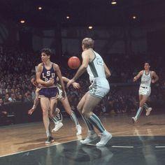 Pistol Pete Maravich vs Tulane in 1968... check the socks!  The original no-look pass!