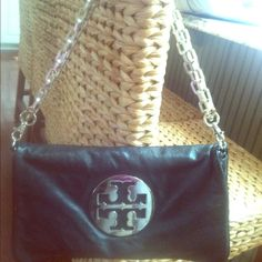 Tory Burch Chain Bag 100% authentic.  Black and Silver - gently loved Tory Burch Bags