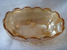 Jeannette Glass Louisa Candy Dish Oval Bowl Four Toed Flora Gold Pattern