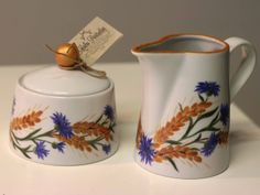 Hand painted sugar bowl and cream pitcher. www.muhuportselan.com