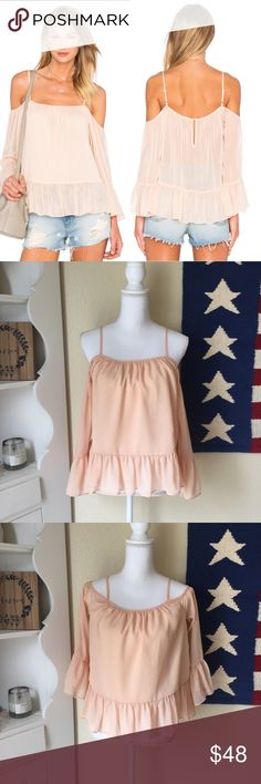 """NWT Lovers + Friends x Revolve Maison Top New with tags. Brand new. Never worn. Lovers + Friends x Revolve Maison Top. Sheer with ruffles. Lined in the front. Color is """"papaya."""" Tag marked a size S. Lovers + Friends Tops Blouses"""