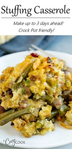 This Stuffing Casserole with sausage and green beansis an easy make-ahead recipe that can be prepared 3 days ahead of time and baked in the oven or heated in the Crock Pot! Crockpot Stuffing, Stuffing Casserole, Stuffing Recipes, Pork Recipes, Casserole Recipes, Slow Cooker Recipes, Crockpot Recipes, Chicken Recipes, Cooking Recipes