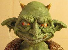 Nilbog the Goblin OOAK SmallScale Polymer Clay Bust by jakejohn79  just plain ..WOW