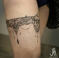 Ornamental lace, garter tattoo by Julie Hamilton
