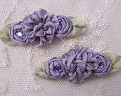 2 pc Antique Plum Ribbon Rosette Rose Flower Beaded Applique w Stone Baby Dog Bow Alligator Clip