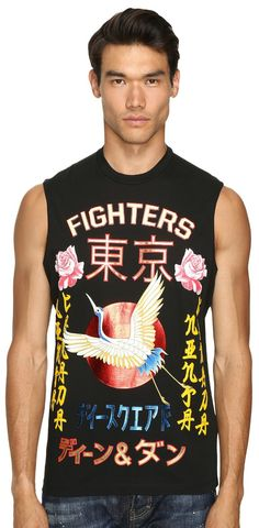 Live legendarily.  Sock it to 'em in style by stepping into the thrilling tale of the #DSQUARED2 #Long #Cool #Fit #Punk #Manga Gang #Muscle #Tee.  #mens #tops #sleeveless #t-shirts #apparel #clothing