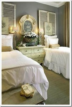 .Salvaged Shutters Used to elongate a double-dose of narrow beds for a strong sense of symmetry.