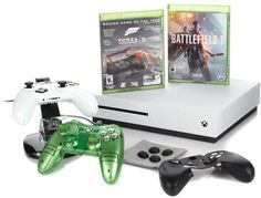 """Microsoft Xbox One S 4K Ultra HD 500GB White Console with """"Battlefield 1"""" Voucher, """"Forza 5"""" Game Disc, Liquid Mini Controller and Access..."""