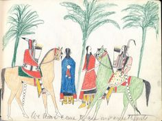 """We have come to see our sweethearts"" Plains Indian Ledger Art"