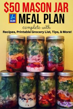 WOW! 19 Mason Jar Salads for less than $50. Printable grocery list, too! #weightloss Salad Recipes Healthy Diet, Recipes For Salads, Salads For Lunch, Chef Salad Recipes, Aldi Recipes, Salads For Kids, Cooking Recipes, Healthy Menu, Summer Salads