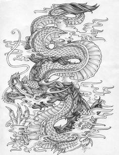 Dragon by Fleische on DeviantArt Dragon Tattoo Drawing, Dragon Sleeve Tattoos, Samurai Tattoo, Japanese Tattoo Art, Japanese Art, Transférer Des Photos, Chinese Dragon Tattoos, Dragon Dreaming, Dragon Artwork