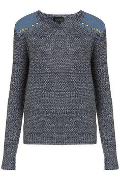 studded denim patch jumper