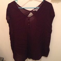 Open Back Urban Top Maroon Henley styled, open back Urban Tank top! Make an offer :) Urban Outfitters Tops Tees - Short Sleeve