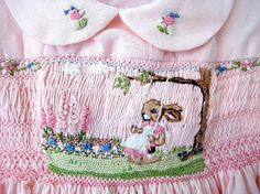 Handsmocked HandEmbroidered Girls  Dress/ Size by rabbitwhiskers, $195.00