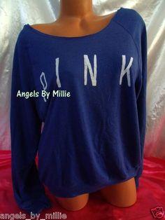 New Victoria's Secret Pink L Cobalt Blue White Baggy Crew sweat Shirt Top | eBay