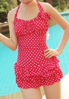 Stylish Halter Neck Backless Polka Dot Flounce One-Piece Swimsuit For Women