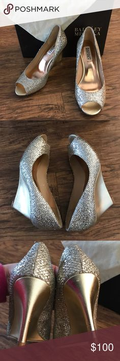 """Badgley Mischka wedges Badgley Mischka glitter peep toe 3"""" inch wedges. One shoe has minor scuffs (pictured). These were worn for a few hours indoors. Comes with box and dust bag. Make offer Badgley Mischka Shoes Wedges"""