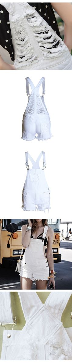 2017 Hot Fashion Clothes Women Cotton Denim Playsuits White Loose Overalls Back Hole Rompers Loose Casual Female Short Tracksuit