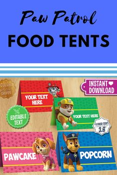 Downloadable and printable paw patrol food tents for birthday party! #pawpatrol #pawpatrolparty #afflink #pawpatrolbday #birthdayparty