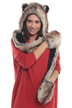 Full Husky Animal Hood Hoodie Hat with Attached Scarf and Mittens $15.95