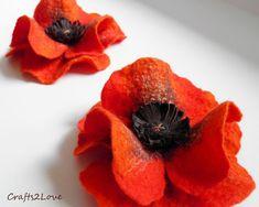 Red Poppy. Felted wool flower brooch pin felt poppy by Crafts2Love