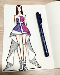 "Gefällt 1,351 Mal, 9 Kommentare - harry sandi (@harry_sandi) auf Instagram: ""🤔🤔🤔 . . .  #fashionillustration"" Dress Design Drawing, Dress Design Sketches, Fashion Design Sketchbook, Fashion Design Drawings, Fashion Sketches, Art Sketchbook, Fashion Drawing Dresses, Fashion Illustration Dresses, Fashion Collage"