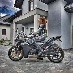 #Motorcycle #Girl #Scooter #Tire Sport bike, Woman, Image, Alpinestars - Follow @extremegentleman for more pics like this!