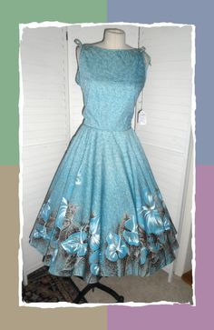 Vintage Dress New Circle Skirt 1950s Turqoise by badgirlvintage