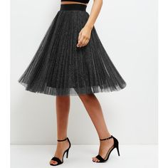 New Look Black Metallic Pleated Midi Skater Skirt (2,295 INR) ❤ liked on Polyvore featuring skirts, black pattern, midi skater skirt, midi circle skirt, print midi skirt, metallic pleated skirt and patterned midi skirt