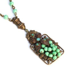 Vintage Art Nouveau Deco Czech Peking Glass Jadeite Bead Pendant Necklace | eBay