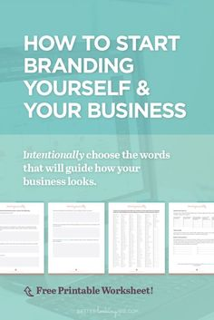 How to Start Branding Yourself and Your Business by Better Looking Biz. Or maybe you need to consolidate and refresh your existing brand? These branding tips + worksheet will help you cre Affiliate Marketing, Marketing Online, Digital Marketing Strategy, Inbound Marketing, Business Marketing, Content Marketing, Internet Marketing, Marketing Strategies, Marketing Plan