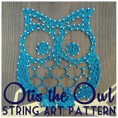 String kunst patroon  Otis de uil  95 x 75 van NineRed op Etsy