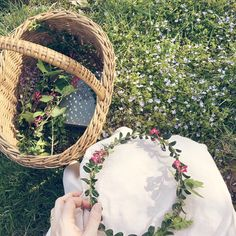 Flower crown making amongst the forget me nots. (Gingerlillytea)