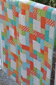 This Way and That Way Baby Quilt Pattern from Jodi Nelson of Pleasant Home. A different colorway from the pattern cover!