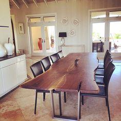 live edge black walnut dining table custom brushed stainless legs modern design