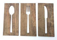 16'' cocina arte tenedor cuchara cuchillo madera por TimberArtSigns