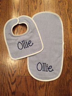 A personal favorite from my Etsy shop https://www.etsy.com/listing/477358686/monogram-seersucker-baby-bib-and