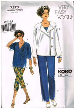 Vogue 7273, Sewing Pattern, Misses' Jackets and Pants by Koko Beall, Size 20, 22, 24, Out Of Print by OhSewWorthIt on Etsy